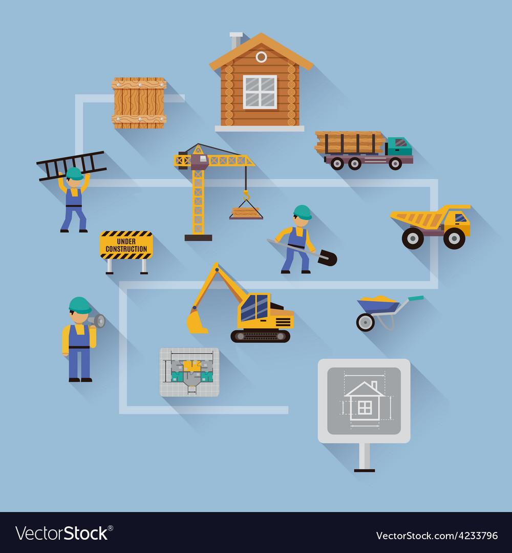 Construction design flat vector | Price: 1 Credit (USD $1)