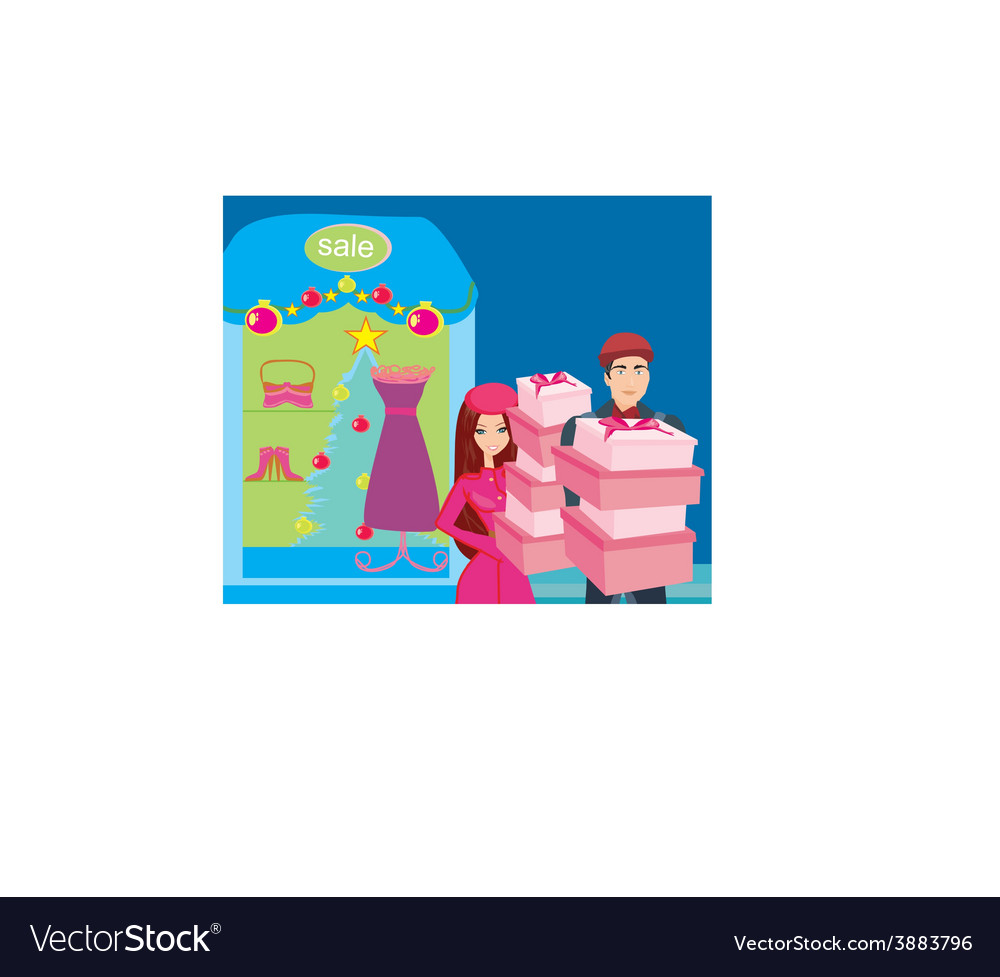 Couple on christmas shopping vector | Price: 1 Credit (USD $1)
