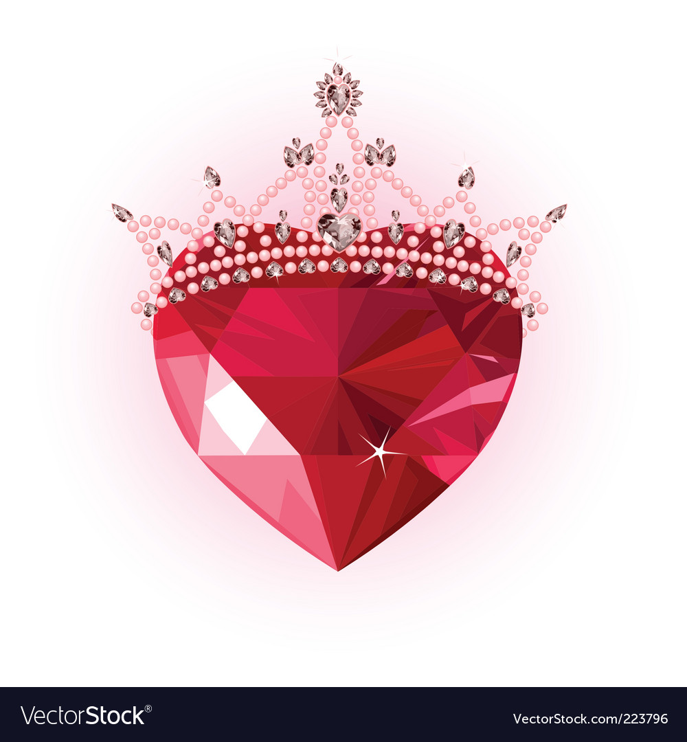Crystal heart with crown vector | Price: 1 Credit (USD $1)