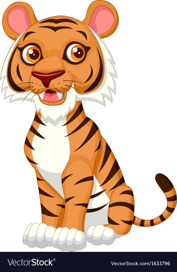 Cute tiger cartoon vector | Price: 1 Credit (USD $1)