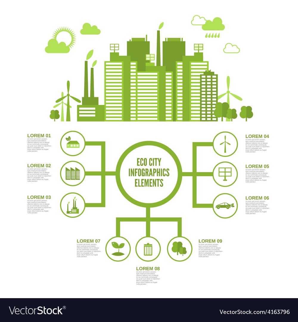 Eco town infographic vector | Price: 3 Credit (USD $3)