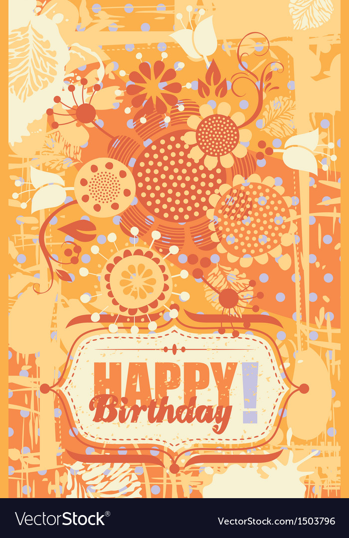 Floral birthday greeting card vector | Price: 1 Credit (USD $1)