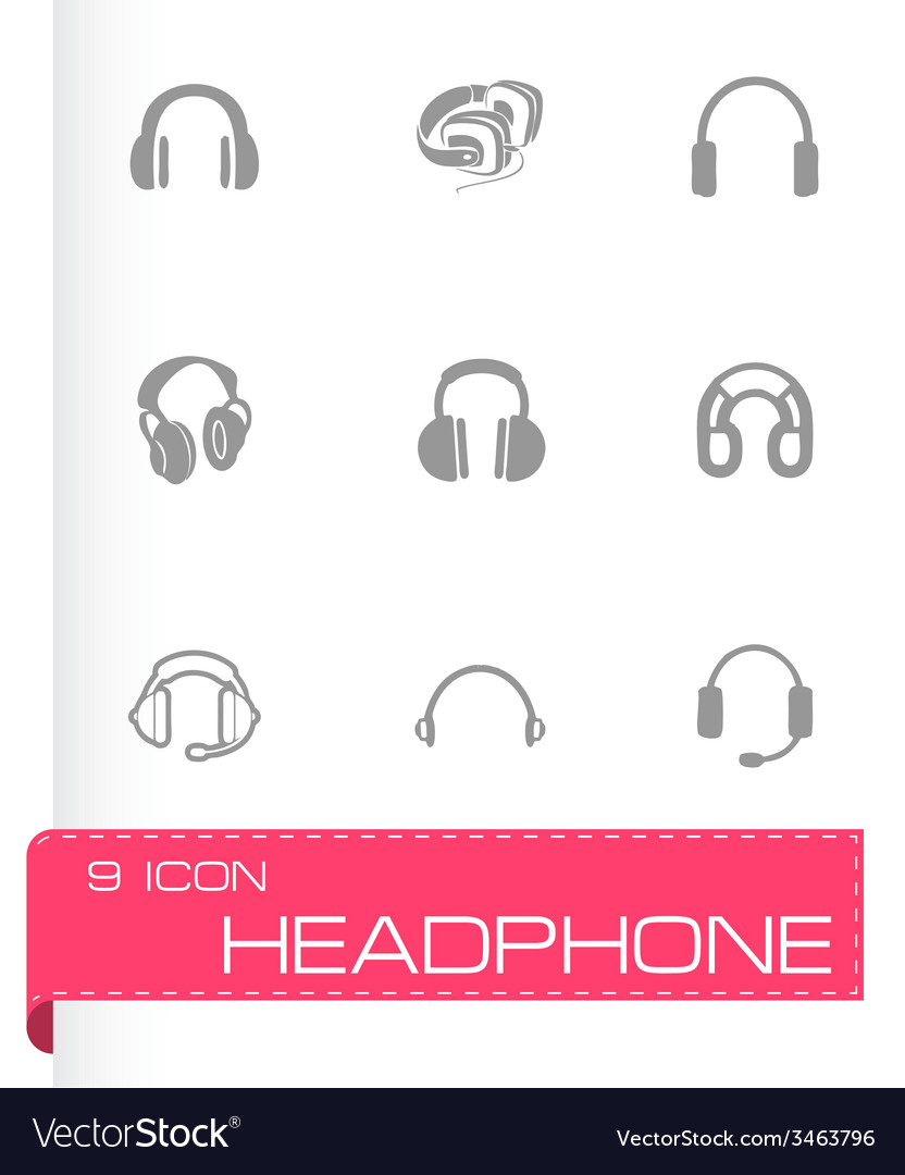 Headphone icon set vector | Price: 1 Credit (USD $1)