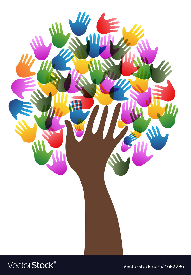 Isolated diversity hands tree background vector | Price: 1 Credit (USD $1)