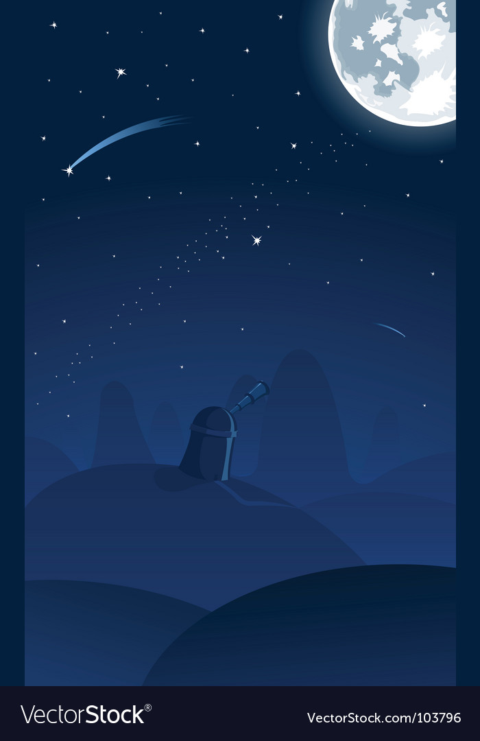 Observatory falling star vector | Price: 1 Credit (USD $1)