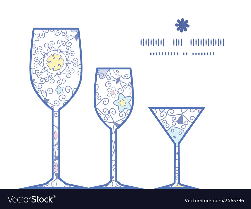 Ornamental abstract swirls three wine glasses vector   Price: 1 Credit (USD $1)