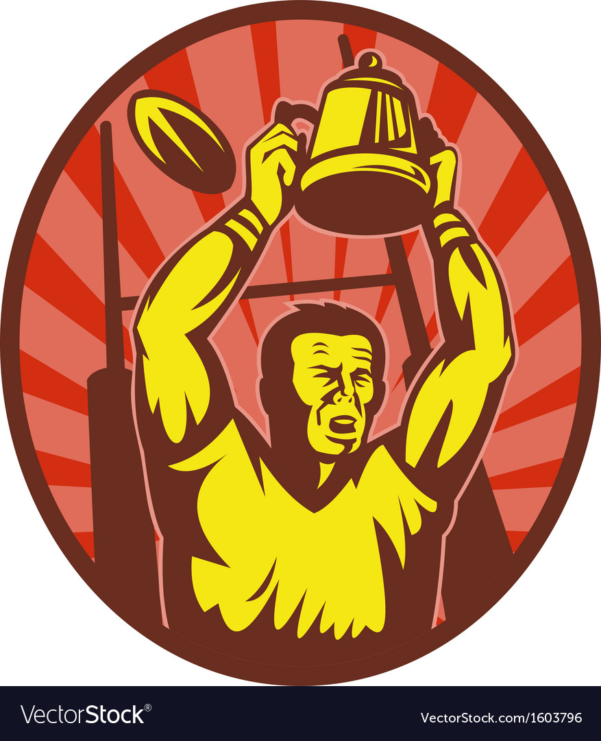 Rugby player raising up championship cup vector | Price: 1 Credit (USD $1)
