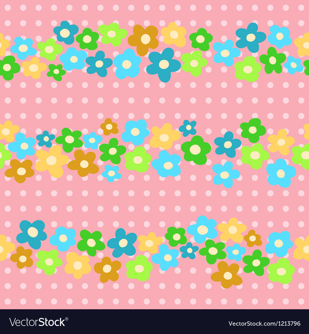Seamless pattern with cheerful flowers vector | Price: 1 Credit (USD $1)