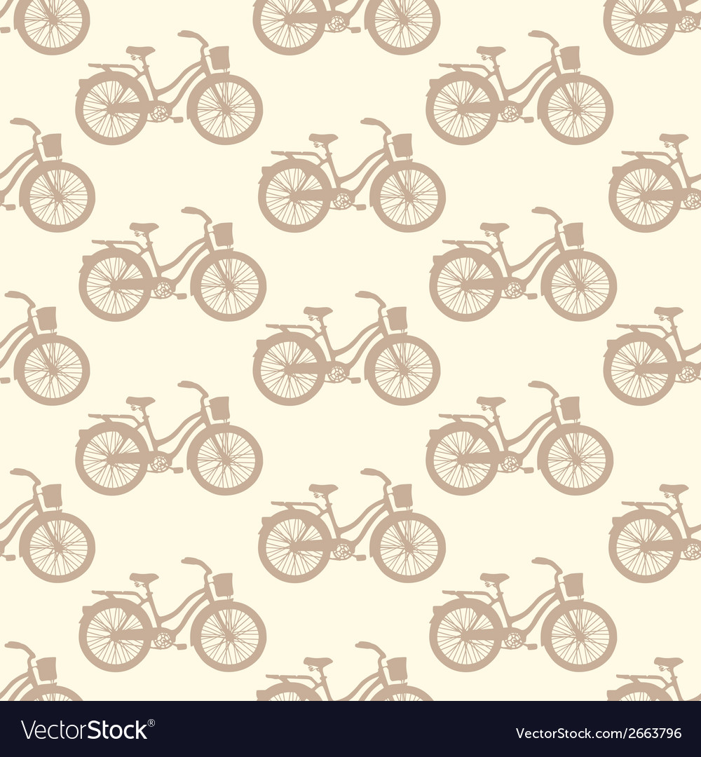 Seamless pattern with colorful vintage bicycles vector | Price: 1 Credit (USD $1)