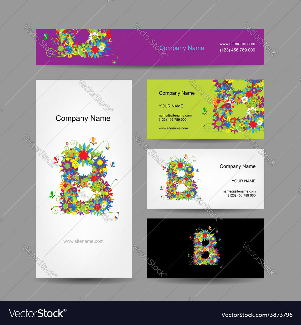 Set of business cards with floral letter b design vector | Price: 1 Credit (USD $1)