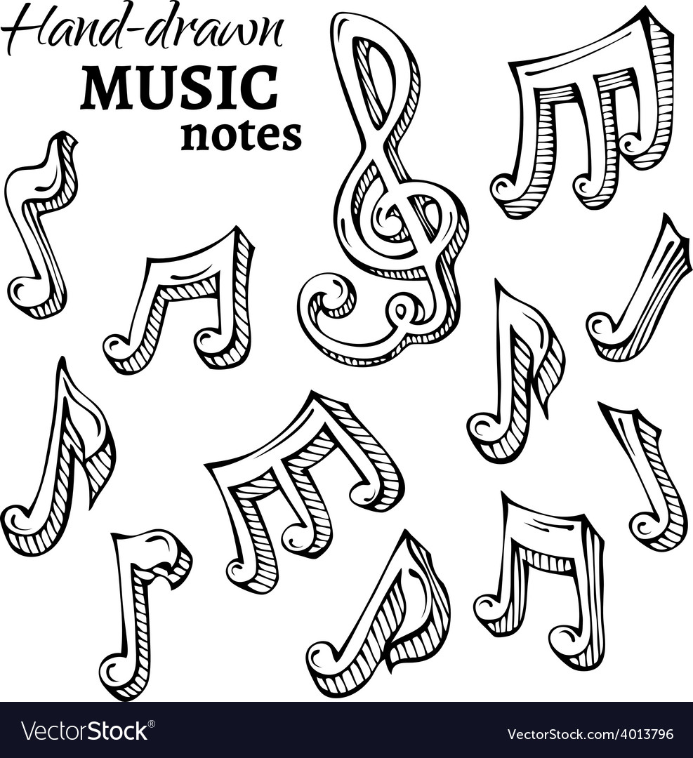 Set of sketch music icons vector | Price: 1 Credit (USD $1)