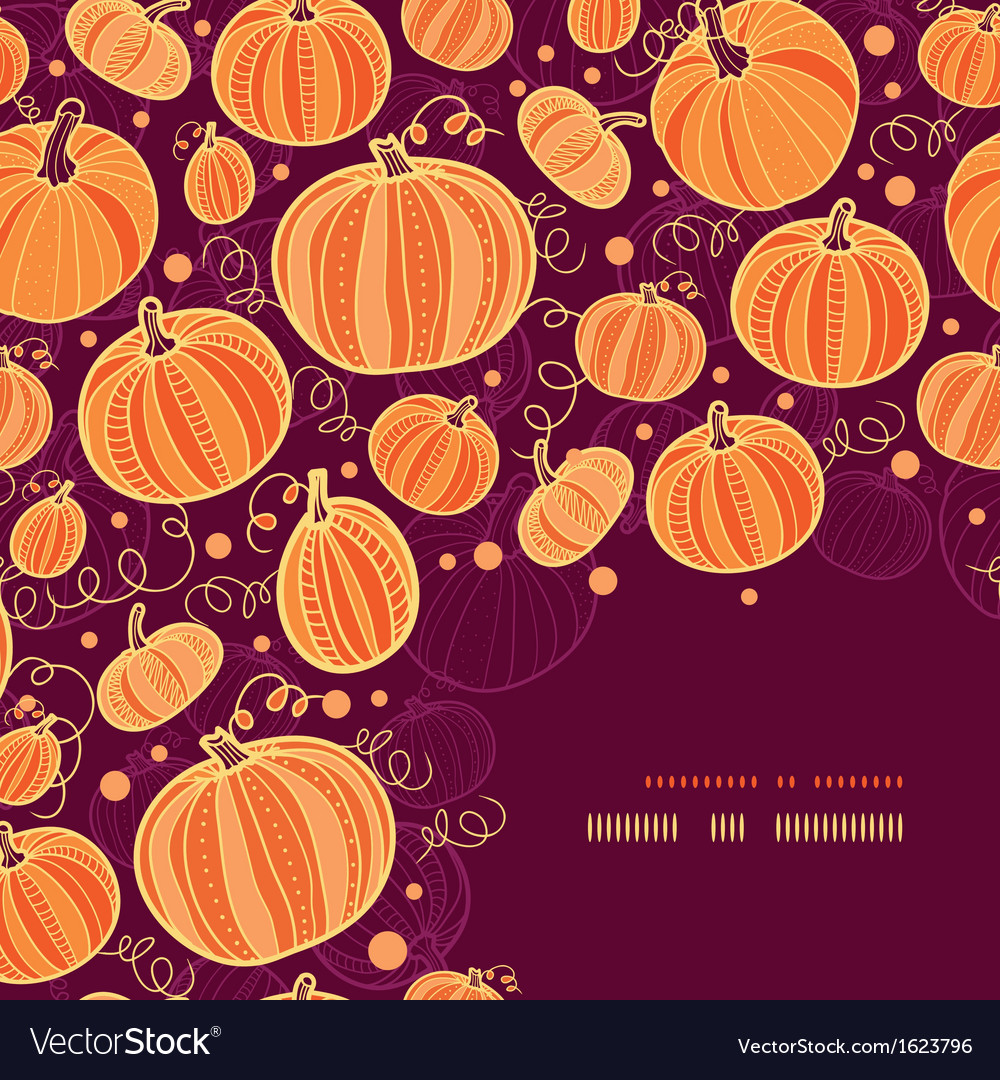 Thanksgiving pumpkins corner decor pattern vector | Price: 1 Credit (USD $1)