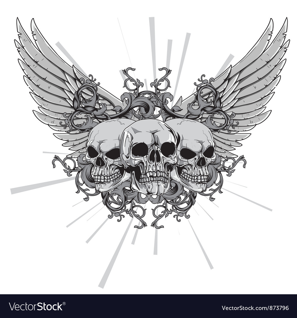 T-shirt design with skulls vector | Price: 1 Credit (USD $1)