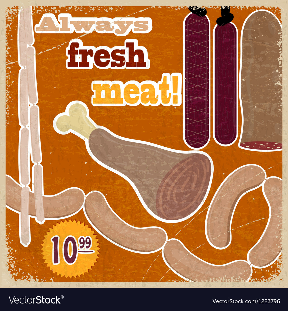 Vintage card with a picture of meat products vector | Price: 1 Credit (USD $1)