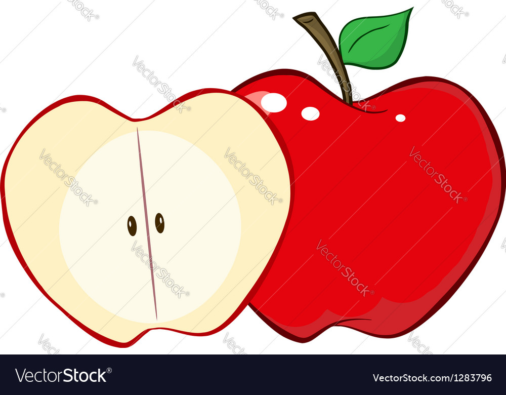 Whole and cut red apple vector | Price: 1 Credit (USD $1)
