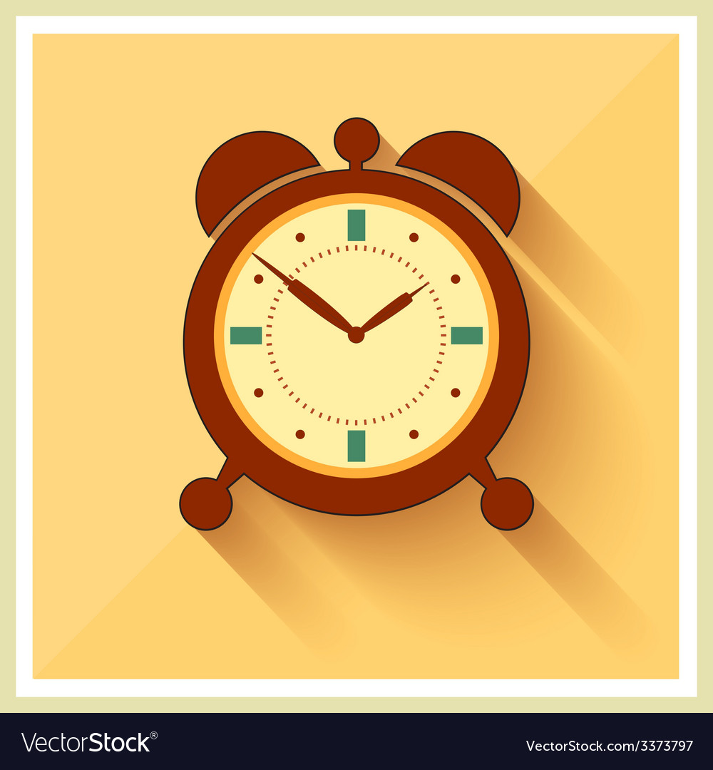 Alarm clock flat icon vector | Price: 1 Credit (USD $1)