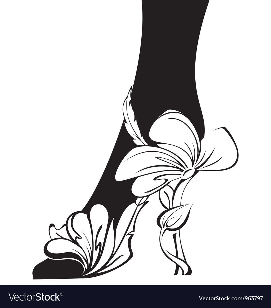 Black and white contour eco shoe vector | Price: 1 Credit (USD $1)