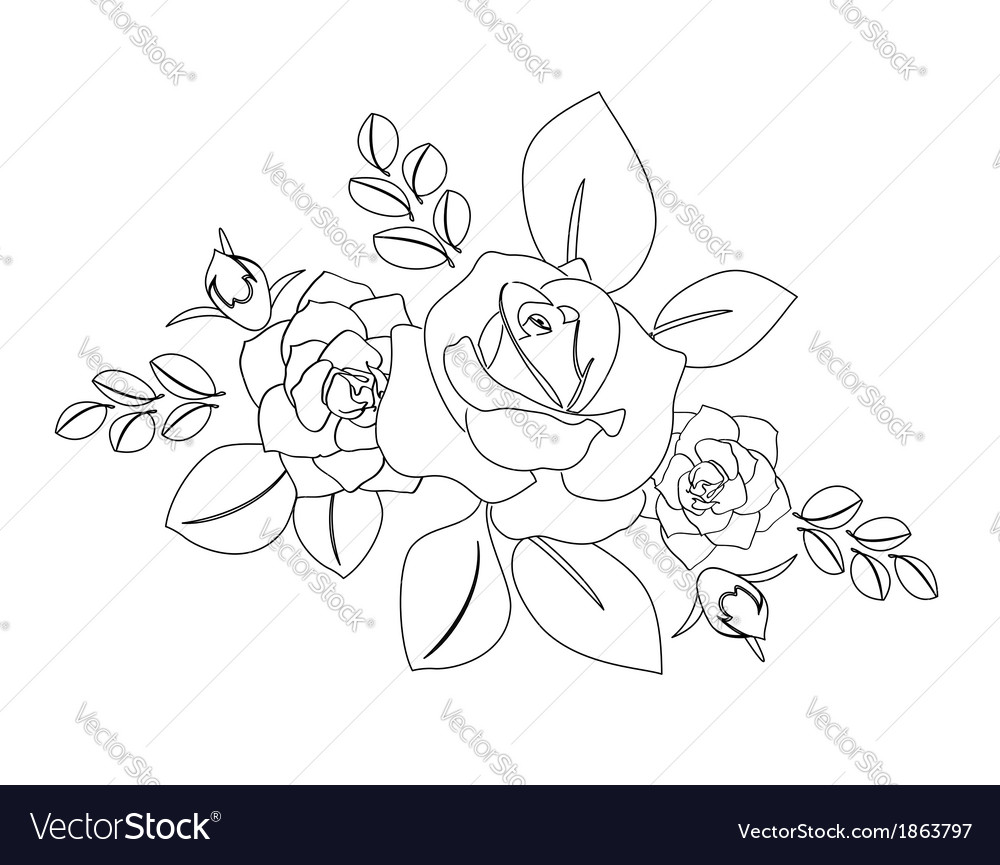 Bouquet of roses - silhouette vector | Price: 1 Credit (USD $1)