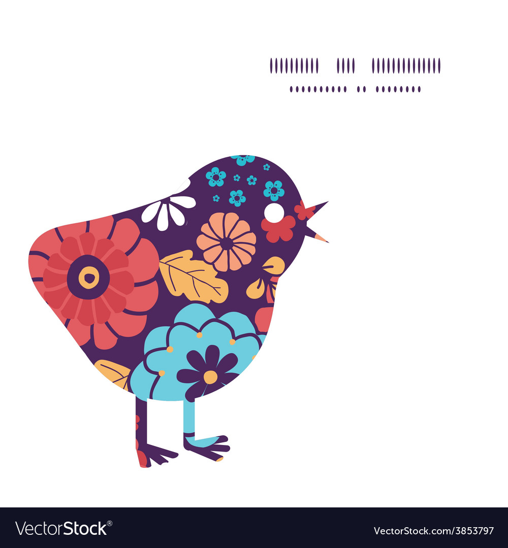 Colorful bouquet flowers chicken silhouette vector | Price: 1 Credit (USD $1)