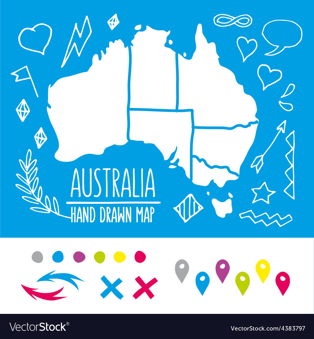 Doodle australia travel map with pins and extras vector