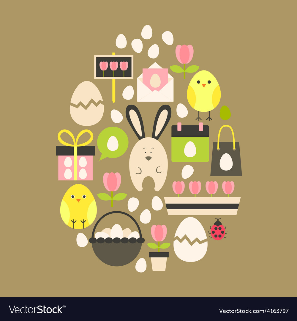 Easter holiday flat icons set over light brown vector | Price: 1 Credit (USD $1)