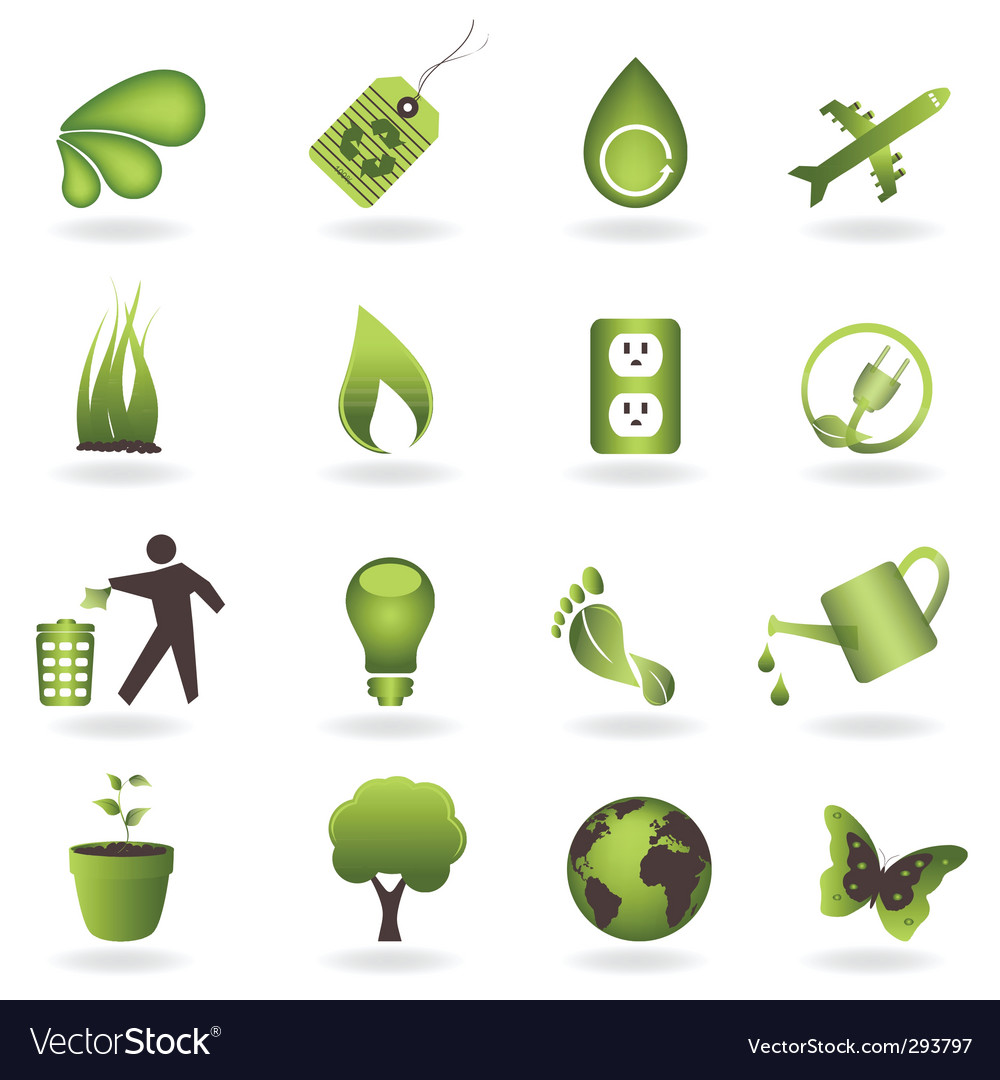 Eco icon set vector | Price: 1 Credit (USD $1)