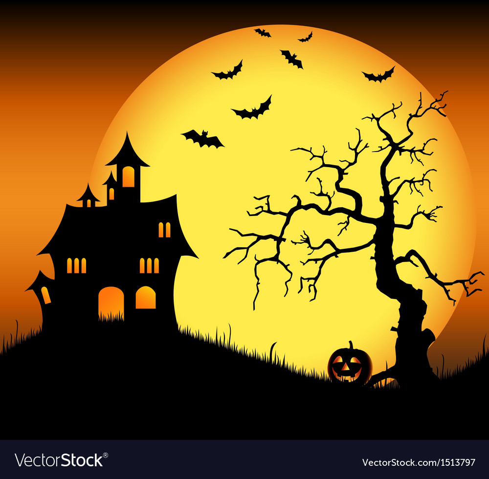 Halloween haunted castle with bats and tree vector | Price: 3 Credit (USD $3)