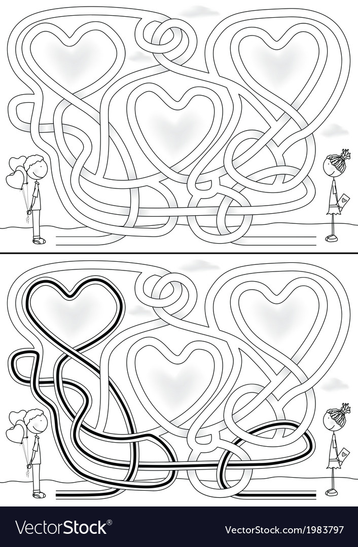 Love maze vector | Price: 1 Credit (USD $1)