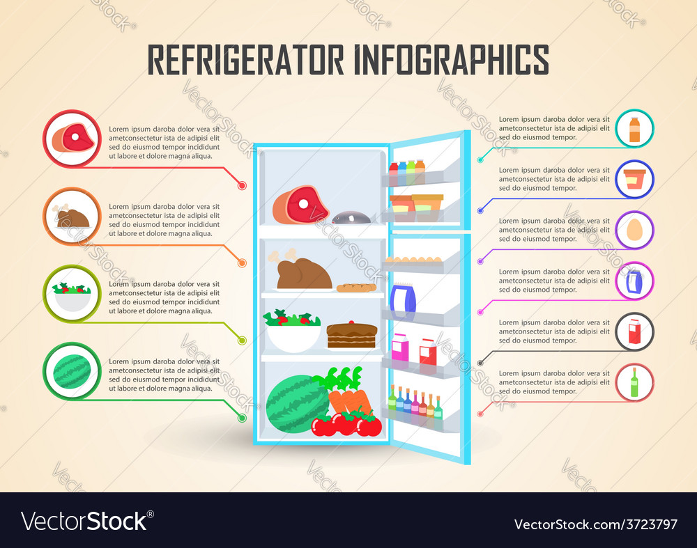 Refrigerator with food icons infographic elements vector | Price: 1 Credit (USD $1)