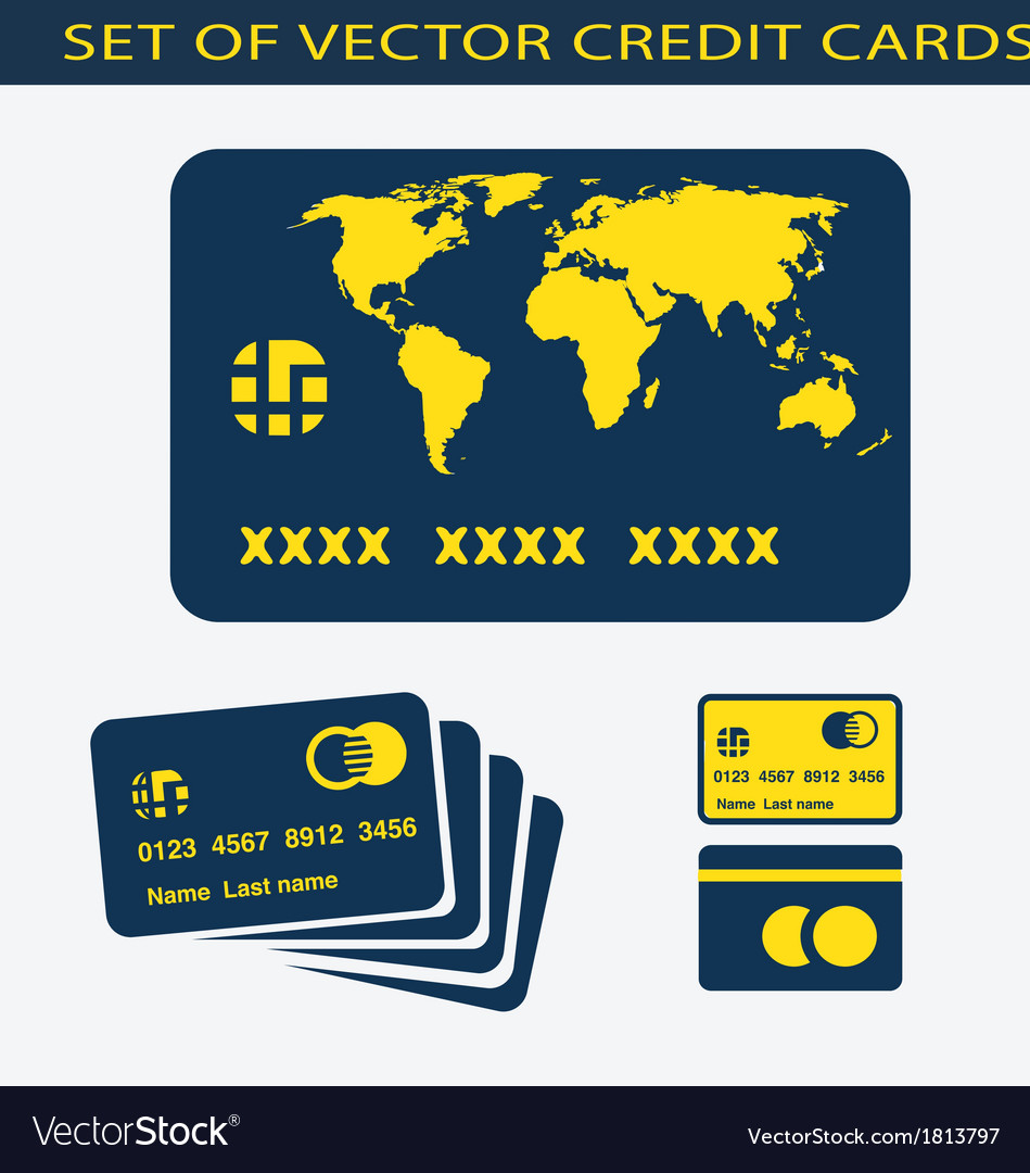 Set of credit cards vector | Price: 1 Credit (USD $1)