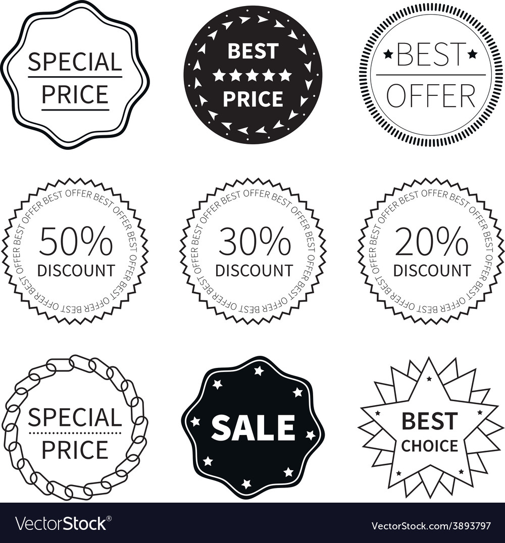 Set of nine black and white retro badges vector | Price: 1 Credit (USD $1)