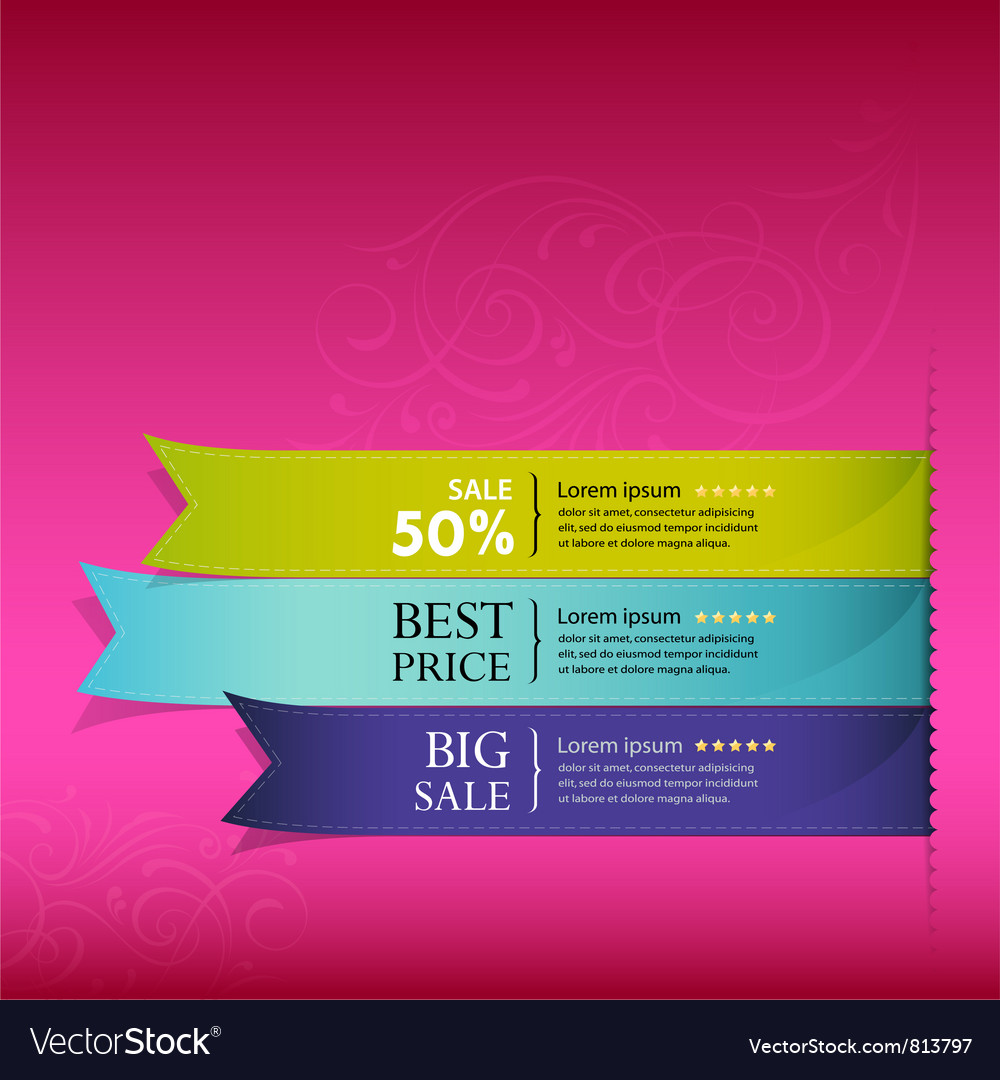 Show colorful ribbon promotional vector | Price: 1 Credit (USD $1)