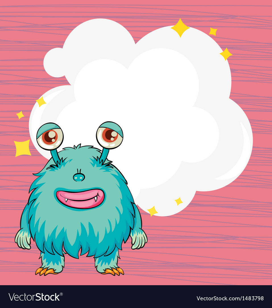 A stationery with a blue hairy monster vector | Price: 1 Credit (USD $1)