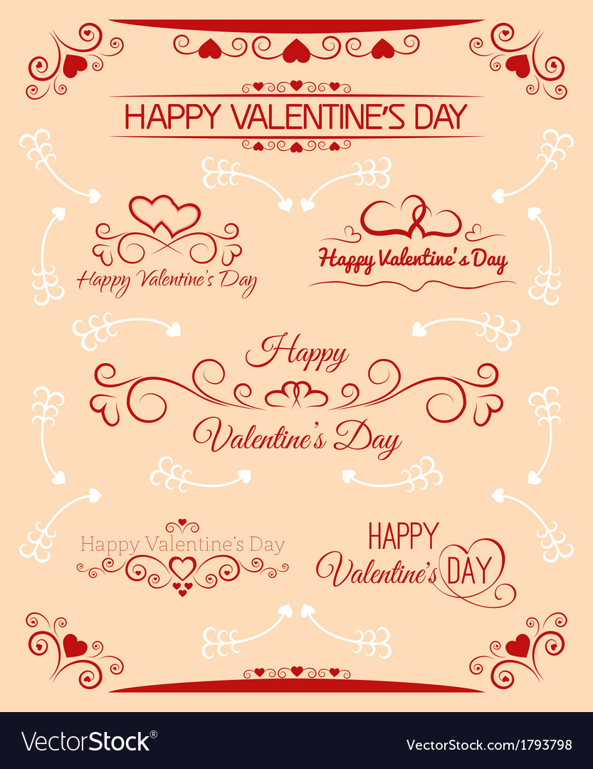 Beautiful inscriptions for valentines day vector | Price: 1 Credit (USD $1)