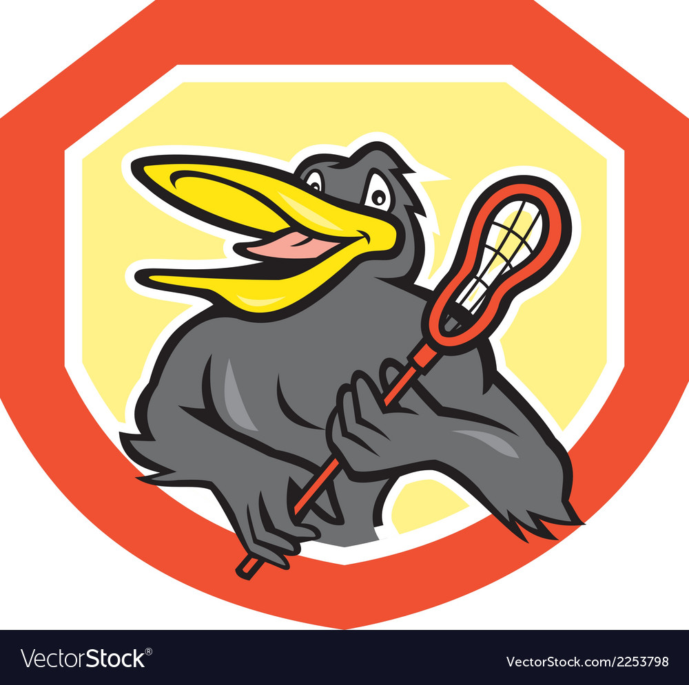 Black bird lacrosse player shield cartoon vector | Price: 1 Credit (USD $1)