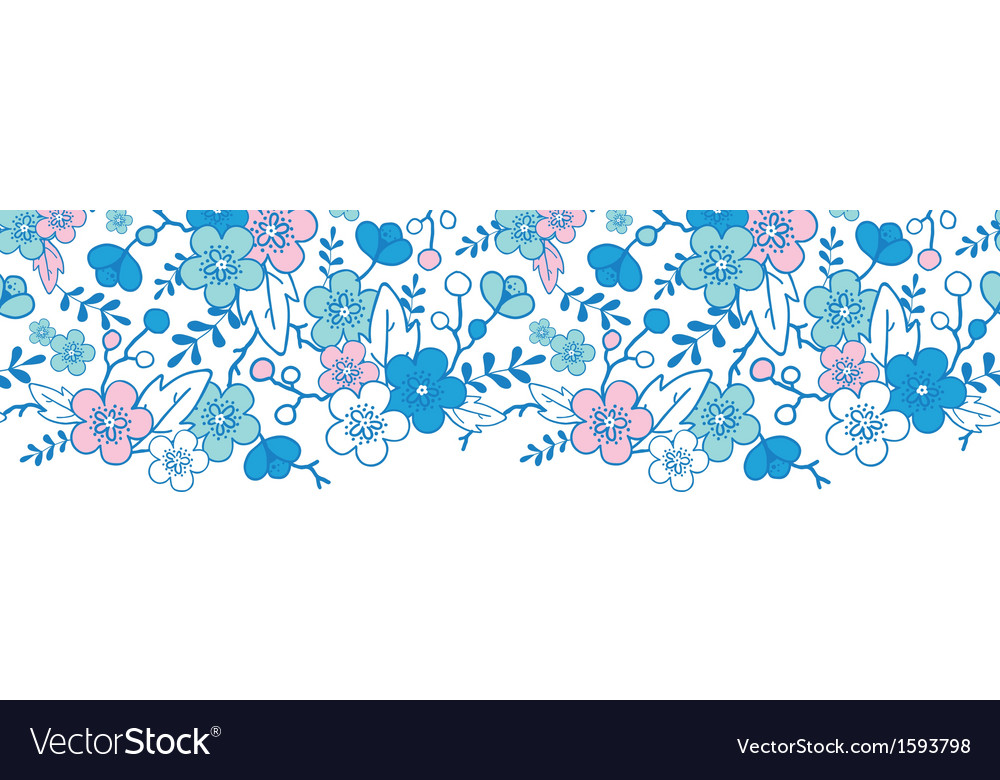 Blue and pink kimono blossoms horizontal seamless vector | Price: 1 Credit (USD $1)