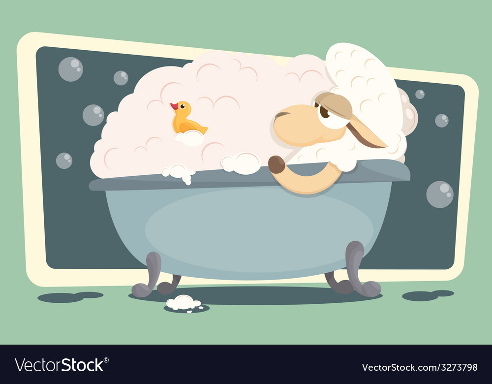 Card with relaxing baby lamb vector | Price: 1 Credit (USD $1)