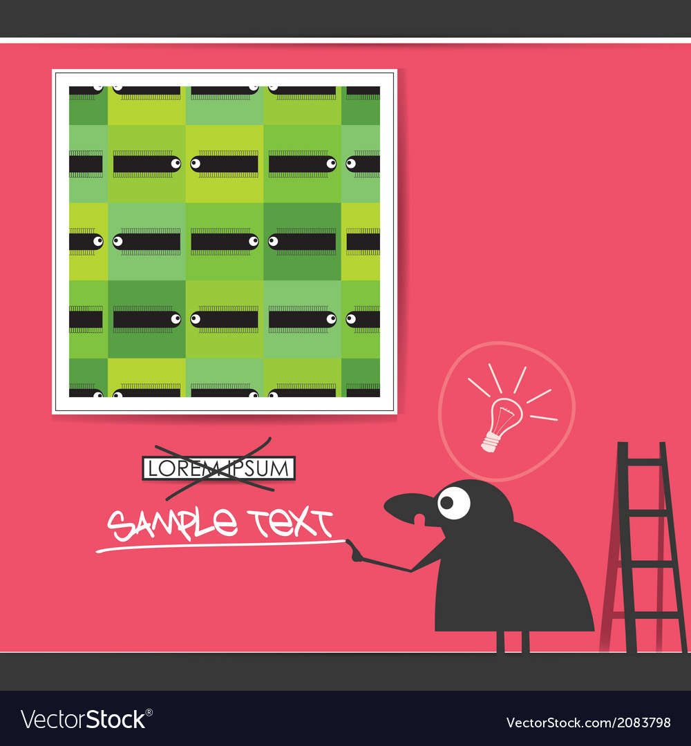 Character in museum with monsters in frames vector | Price: 1 Credit (USD $1)