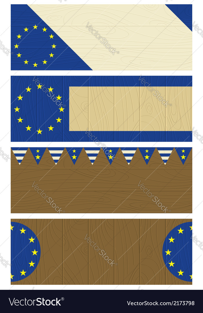 Four wooden banners with elements of eu banner vector | Price: 1 Credit (USD $1)