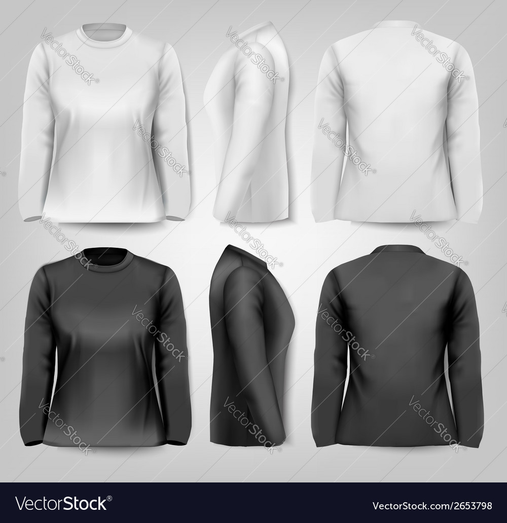Long sleeved female t-shirts with sample text vector | Price: 1 Credit (USD $1)
