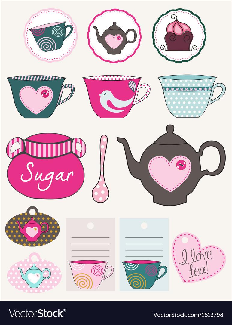 Lovely tea set vector | Price: 1 Credit (USD $1)