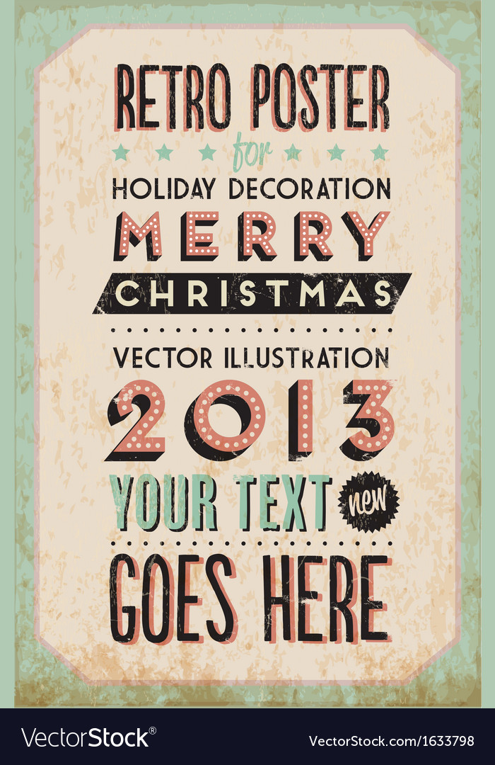 Retro vintage happy new year background vector | Price: 1 Credit (USD $1)