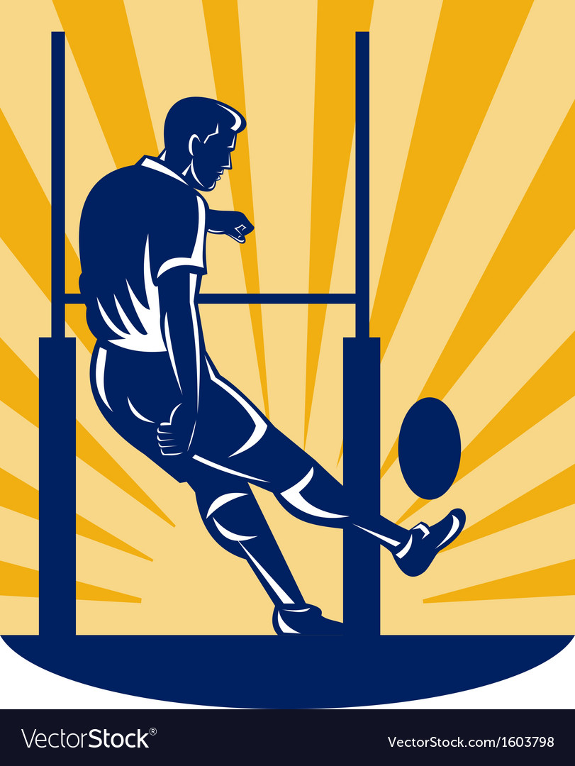 Rugby player kicking at goal post vector | Price: 1 Credit (USD $1)