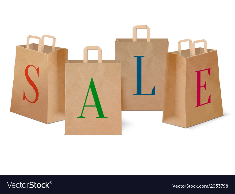 Sale paper shopping bags vector | Price: 1 Credit (USD $1)