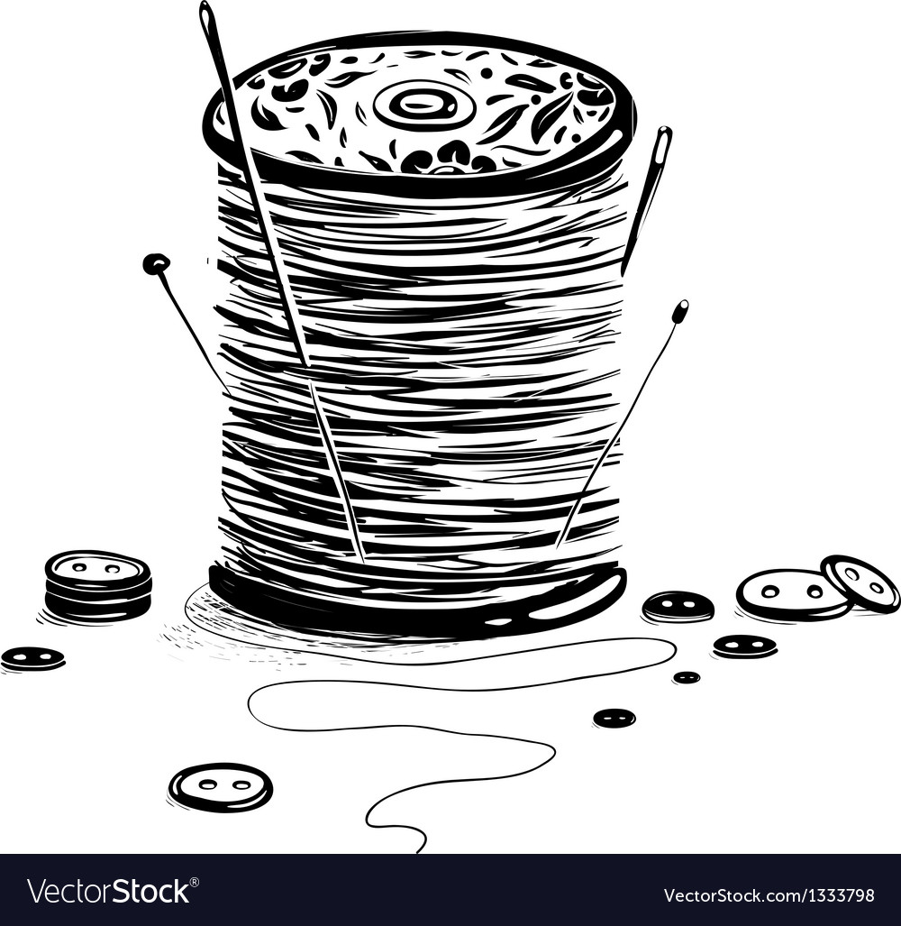 Spool of thread with needles and buttons vector | Price: 1 Credit (USD $1)