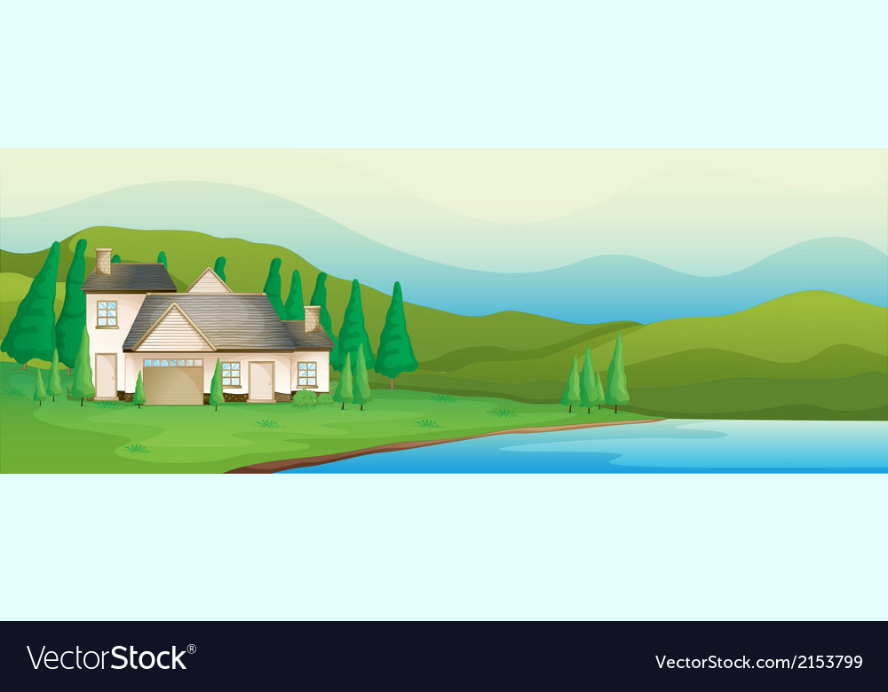 A house near the river vector | Price: 1 Credit (USD $1)