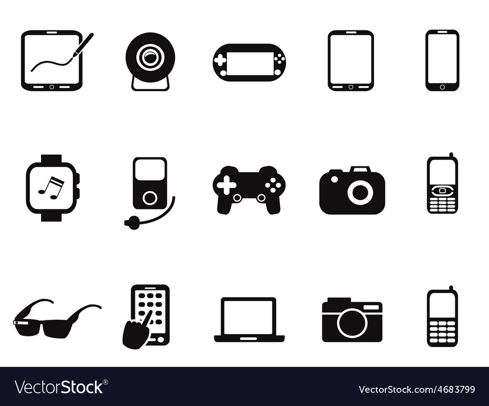 Black mobile devices icon set vector | Price: 1 Credit (USD $1)