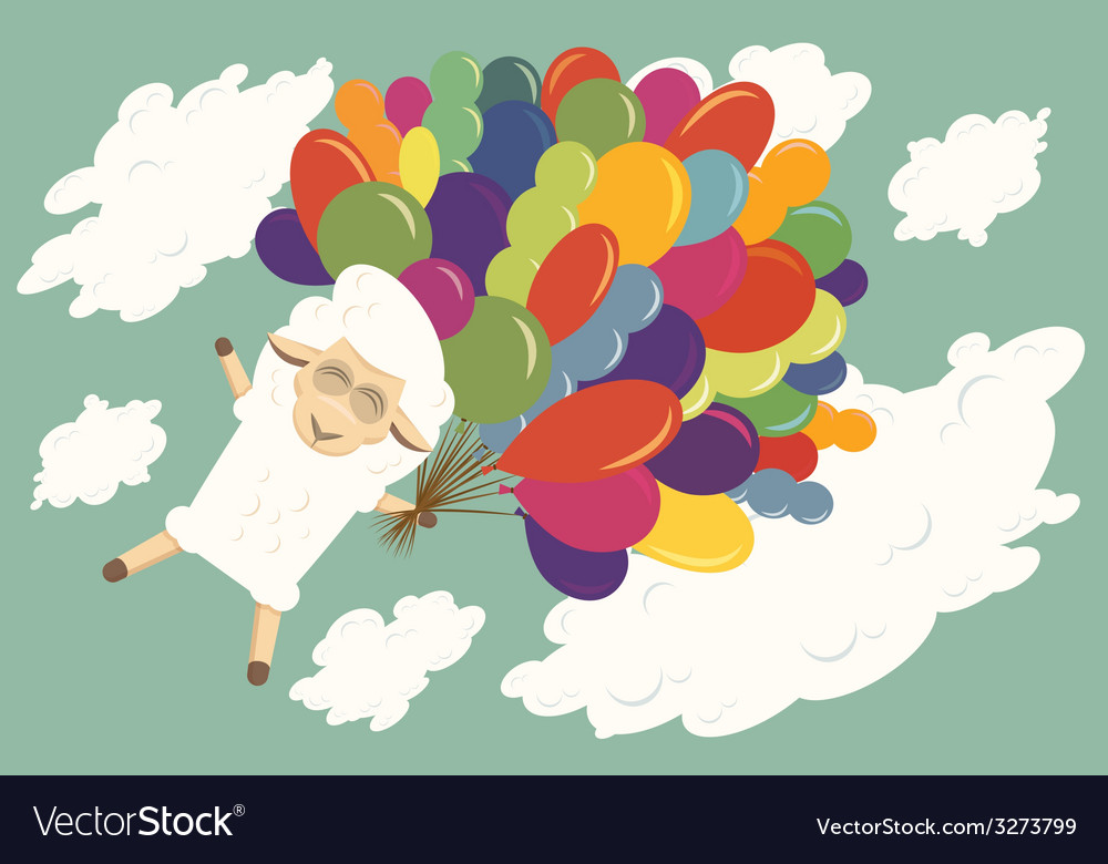 Card with flying baby lamb vector | Price: 1 Credit (USD $1)