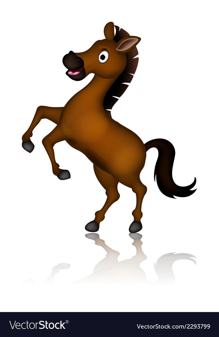 Cute brown horse cartoon posing vector | Price: 1 Credit (USD $1)