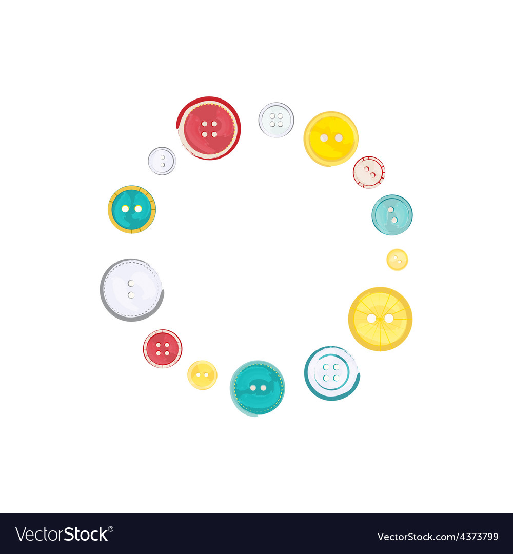 Decorative circle of sewing buttons over white vector | Price: 1 Credit (USD $1)